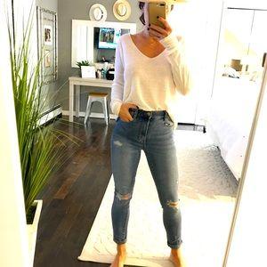 Garage dark wash high rise skinny jeans 00